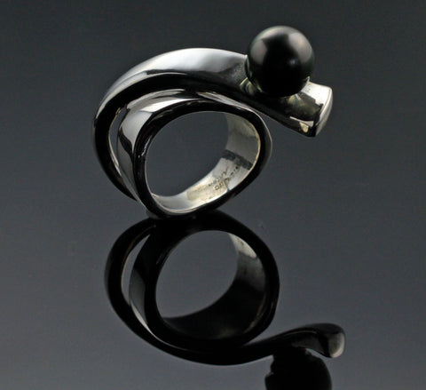 Ribbon Ring with Tahitian Pearl-R1017TP