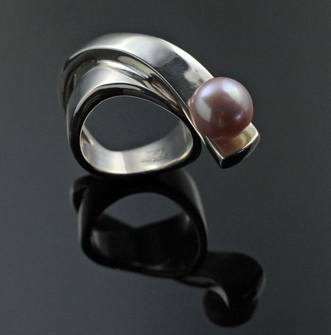 Ribbon Ring with Pink Pearl-R1017PP