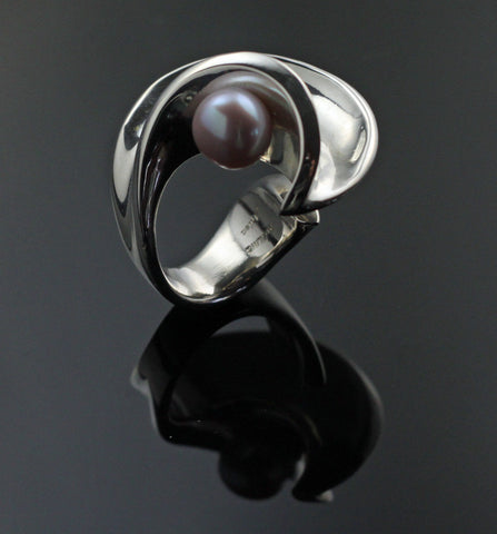 Side Wave Ring with Pink Pearl-R1019PP
