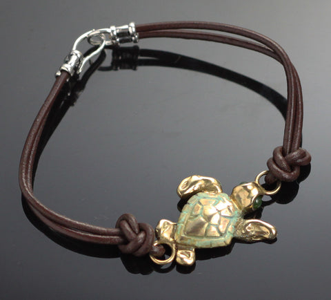 Bronze Loggerhead Leather Bracelet