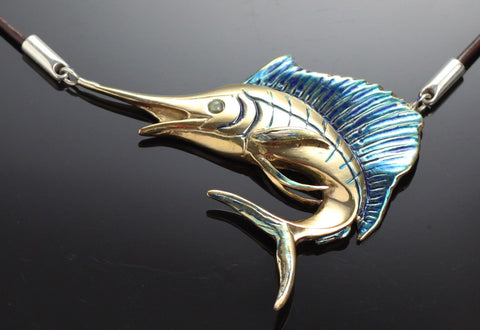 Bronze Sailfish Necklace-BRF1009-N