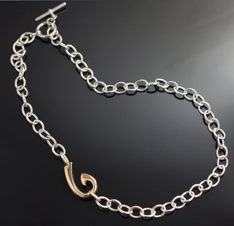 Bronze Hook on S.S. Link Necklace – BRP1039-L