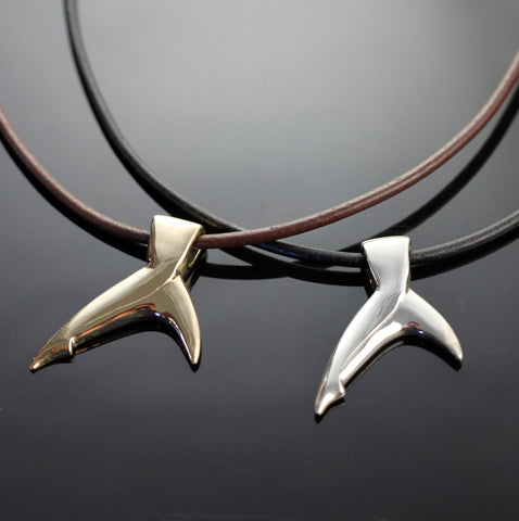 Bronze Black Tip Shark Tail Pendant-BRF1022