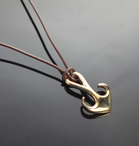 Bronze Curvy Anchor Pendant