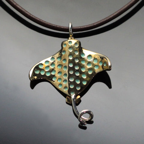 Bronze Spotted Eagle Ray Pendant-BRS1024
