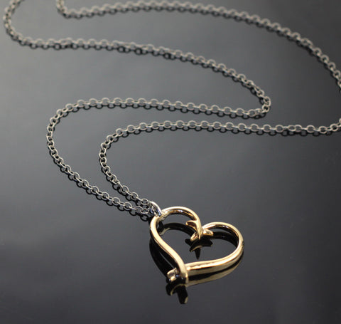 "Bronze Hook Heart Pendant on 38"" silver chain-BRP1017-C"