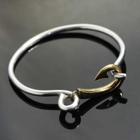 Silver Bangle with Bronze Hook Cuff