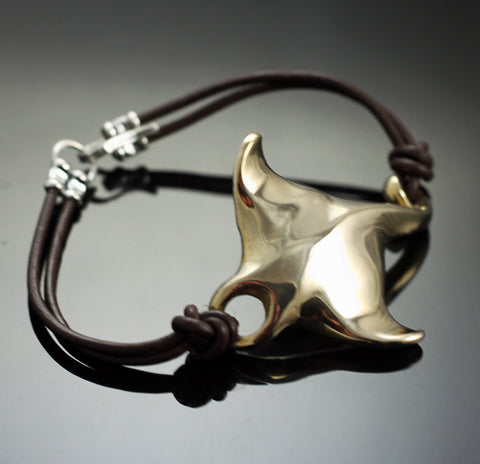 Bronze Manta Ray leather bracelet-BRB1010