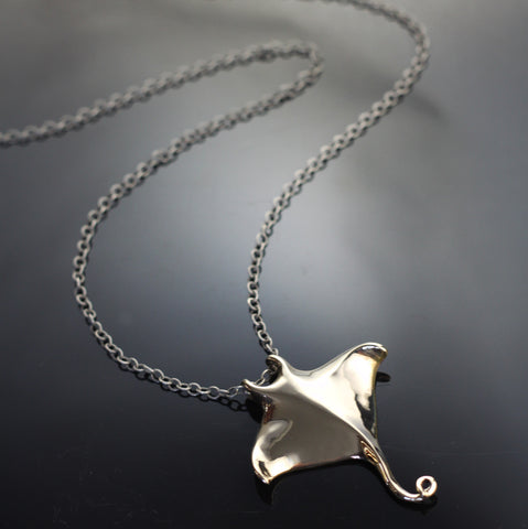 Bronze Manta Ray Pendant on silver chain