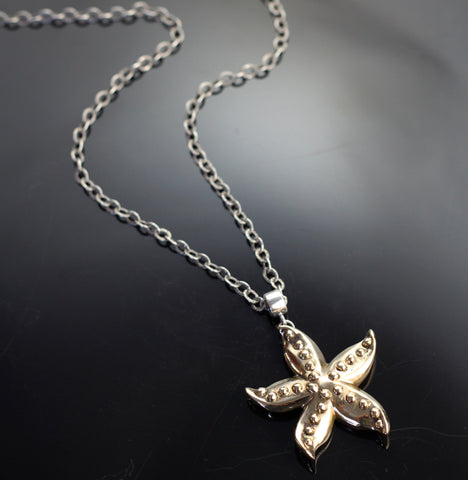 Bronze Starfish Pendant on long silver chain