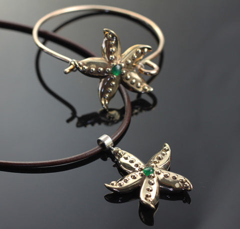 Bronze Starfish Collection with Jade