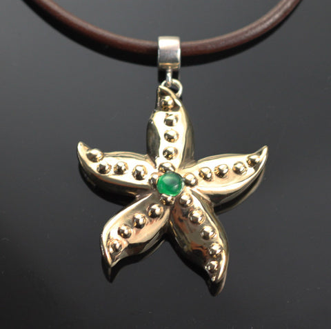 Bronze Starfish Pendant with Jade-BRS1019-J