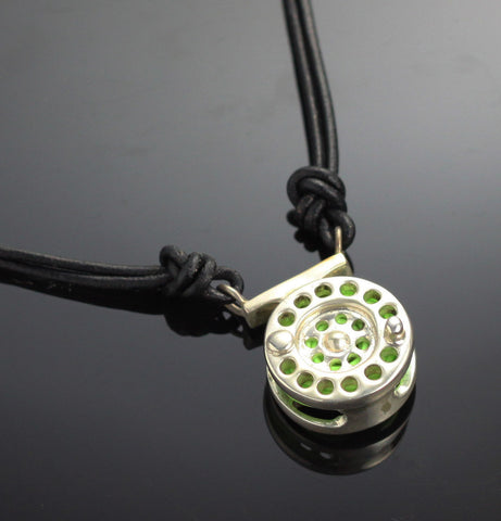 Reel Necklace with Green Line – F1010-GS