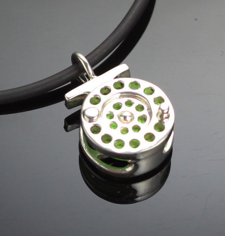 Fly Reel Pendant with Green Line – F1010-G