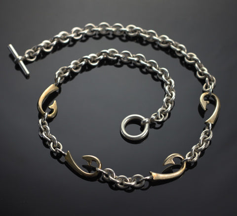 4 Bronze Hook Silver Chain Necklace
