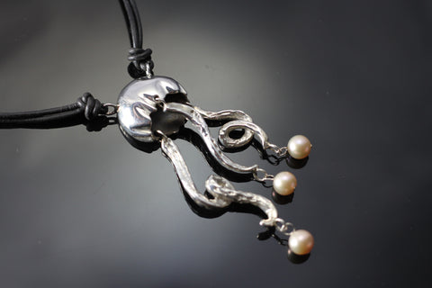 Jellyfish Necklace w/Pearls-S1021NP
