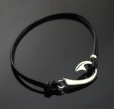 """J"" Hook Bracelet on Black Leather- BP1039"