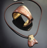 Bronze Redfish Cuff & Redfish Pendant Set
