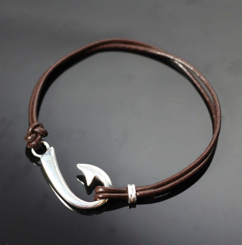 """J"" Hook Bracelet with Brown Leather-BP1039-BL"