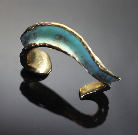 Bronze Crashing Waves Verde Patina'd Cuff-BRB1004-V