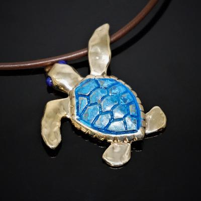 NEW! Bronze Lg Loggerhead pendant with blue patina