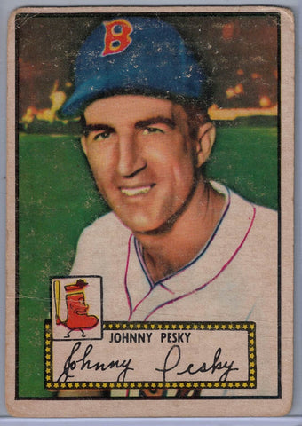 1952 Topps Baseball # 15 Johnny Pesky Red Back $8.00