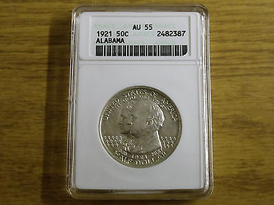 1921 Alabama Half Dollar Commemorative ANACS AU 55 $165.00