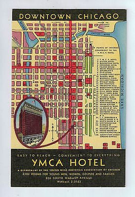 YMCA Hotel Downtown Chicago Map View Chicago, Illinois Vintage Postcard $10.00