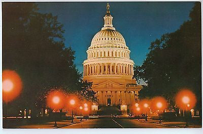 Vintage Postcard of U.S. Capitol Dome at Night, Washington, D.C. $10.00