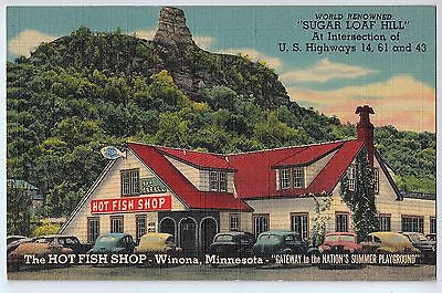Vintage Postcard of The HOT FISH SHOP in Winona, Minnesota $10.00