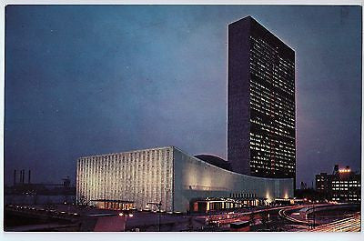 Vintage Postcard of an Evening view of The United Nations Building in New York $10.00