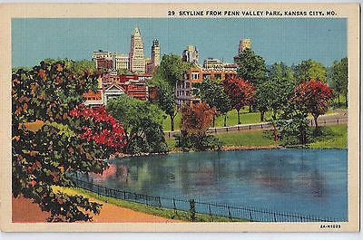 Vintage Postcard of Skyline From Penn Valley Park, Kansas City, MO $10.00