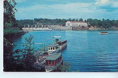 Vintage Postcard of Lower Dells Boat Docks with Dam and Power House, WI Dells $10.00