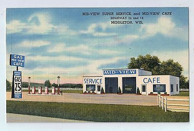 Mid-View Service and Cafe Middleton, Wisconsin Vintage Postcard $10.00