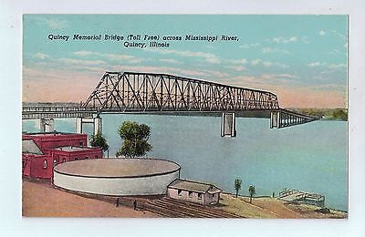 Quincy Bridge Mississippi River, Quincy, Illinois Vintage Postcard $10.00