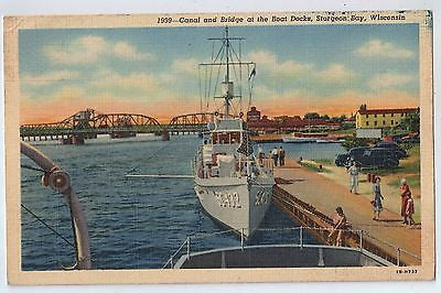 Canal and Bridge at the Boat Docks, Sturgeon Bay, Wisconsin Vintage Postcard $10.00