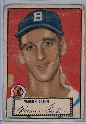 1952 Topps Baseball # 33 Warren Spahn Black Back $16.00