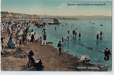 Vintage Postcard of Bathers and Paddlers at Weymouth $10.00