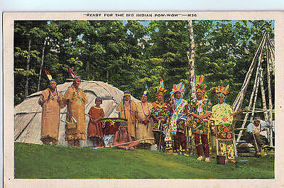 "Vintage Postcard of ""Ready For The Big Indian Pow-Wow"" $10.00"