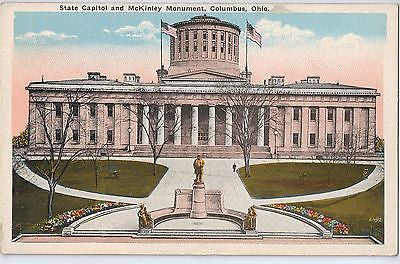 Vintage Postcard of The State Capitol and McKinly Monument in Columbus, OH $10.00