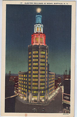 Vintage Postcard of the Electric Building at Night, Buffalo, NY $10.00