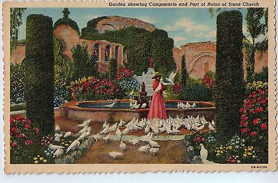 Vintage Postcard of Garden Showing Campanario and Part of Runis of Stone Church $10.00