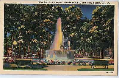 Vintage Postcard of Automatic Electric Fountain, East Perry Square, Erie, PA $10.00