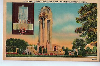 Vintage Postcard of Charity Tower at the Shrine of the Little Flower, Detroit $10.00
