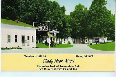 Vintage Postcard of The Shady Nook Motel 1 1/2 mi from Loogootee, IN $10.00