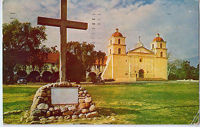 Vintage Postcard of Santa Barbara, CA Mission $10.00