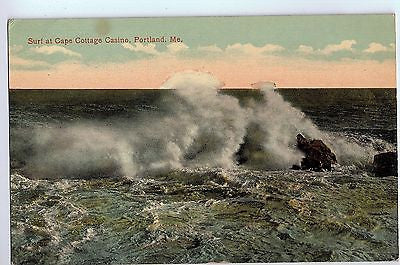 Vintage Postcard of Surf at Cape Cottage Casino, Portland, ME $10.00