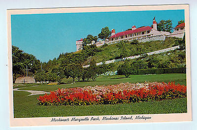 Vintage Postcard of Mackinac's Marquette Park in Mackinac Island, MI $10.00