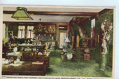 Vintage Postcard of Reception Room Postum Cereal CO in Battle Creek, MI $10.00