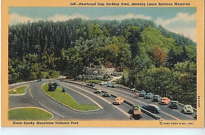 Vintage Postcard of Newfound Gap Parking Area, Showing Laura Spelman Memorial $10.00